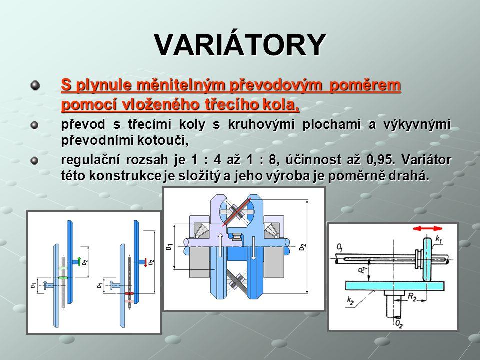 VARIÁTORY S plynule měnitelným převodovým poměrem pomocí vloženého třecího kola,