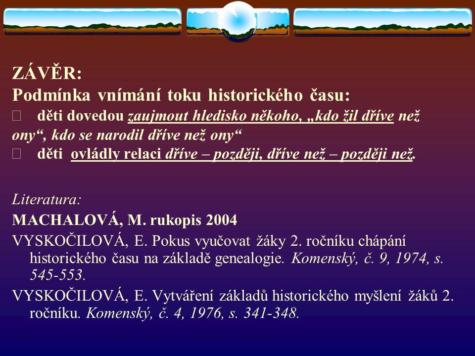 """ZÁVĚR: Podmínka vnímání toku historického času: Þ děti dovedou zaujmout hledisko někoho, """"kdo žil dříve než ony , kdo se narodil dříve než ony Þ děti ovládly relaci dříve – později, dříve než – později než."""