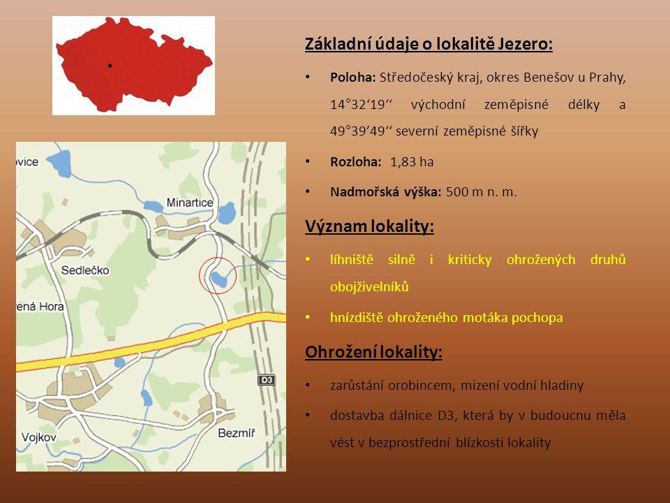 Základní údaje o lokalitě Jezero: