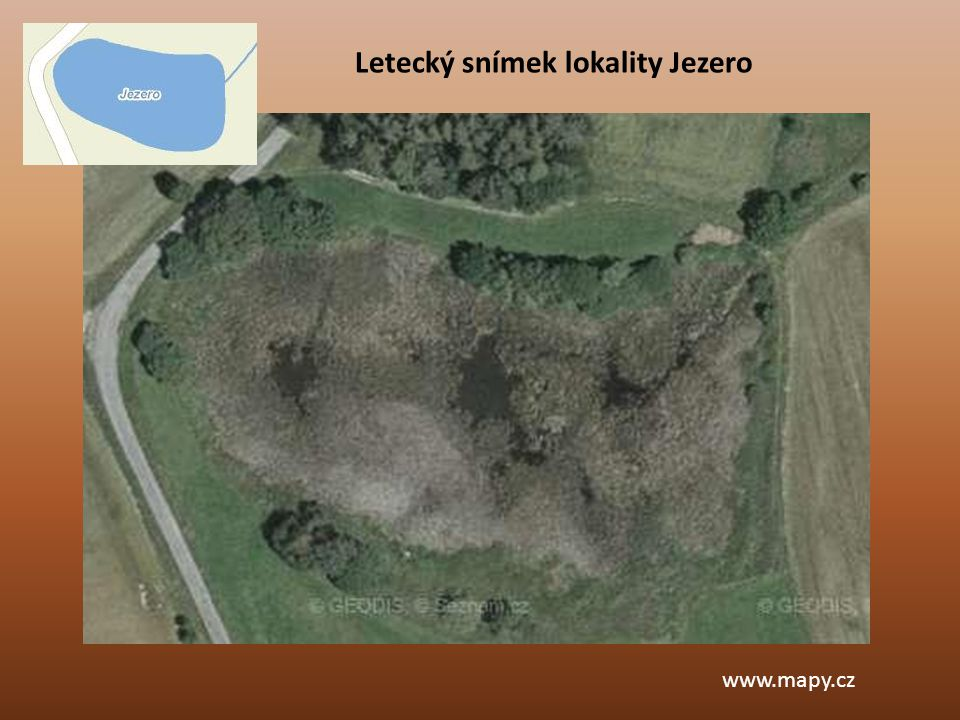 Letecký snímek lokality Jezero