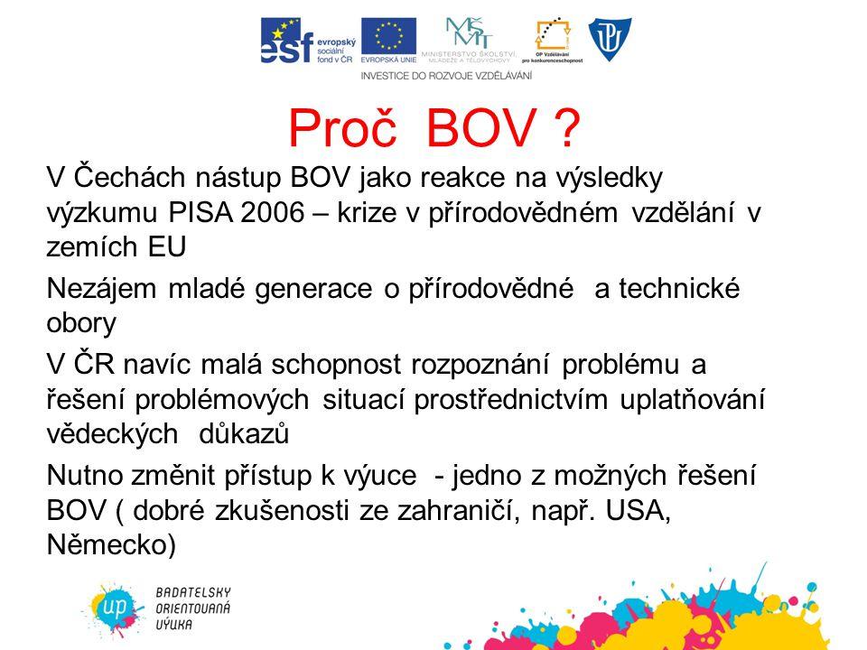 Proč BOV V Čechách nástup BOV jako reakce na výsledky výzkumu PISA 2006 – krize v přírodovědném vzdělání v zemích EU.