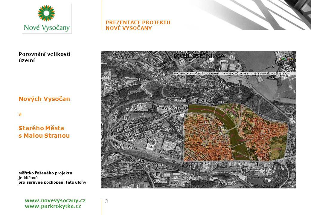 Nových Vysočan Starého Města s Malou Stranou Porovnání velikosti území