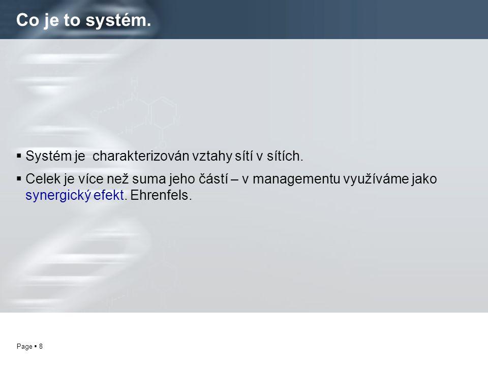 Co je to systém. Systém je charakterizován vztahy sítí v sítích.