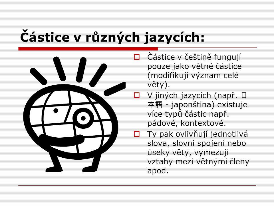 Částice v různých jazycích: