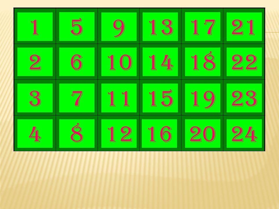 1 5 9 13 17 21 2 6 10 14 18 22 3 7 11 15 19 23 4 8 12 16 20 24
