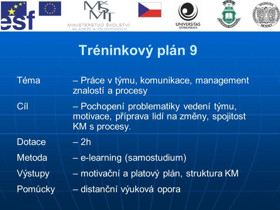 Tréninkový plán 9 Téma – Práce v týmu, komunikace, management znalostí a procesy.