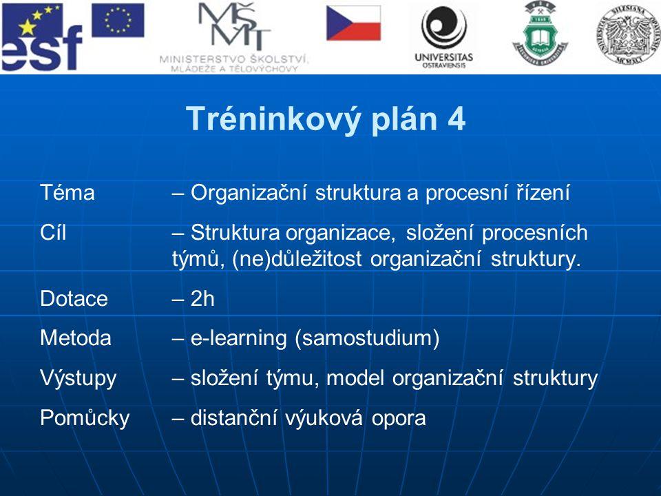 Tréninkový plán 4 Téma – Organizační struktura a procesní řízení
