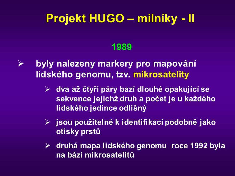 Projekt HUGO – milníky - II