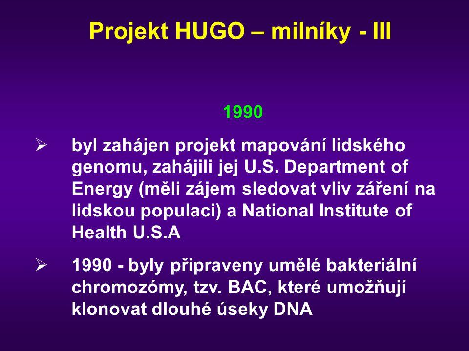 Projekt HUGO – milníky - III