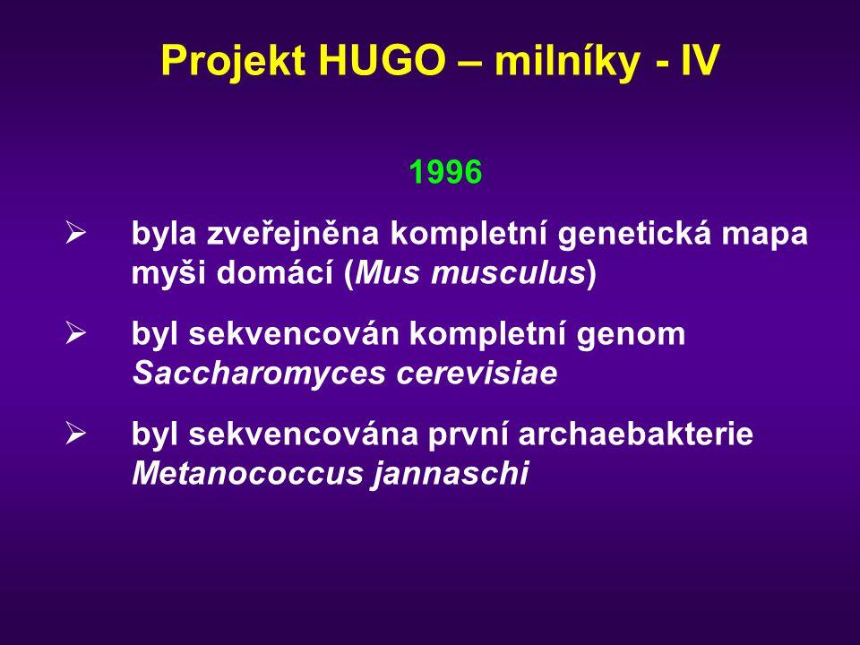 Projekt HUGO – milníky - IV