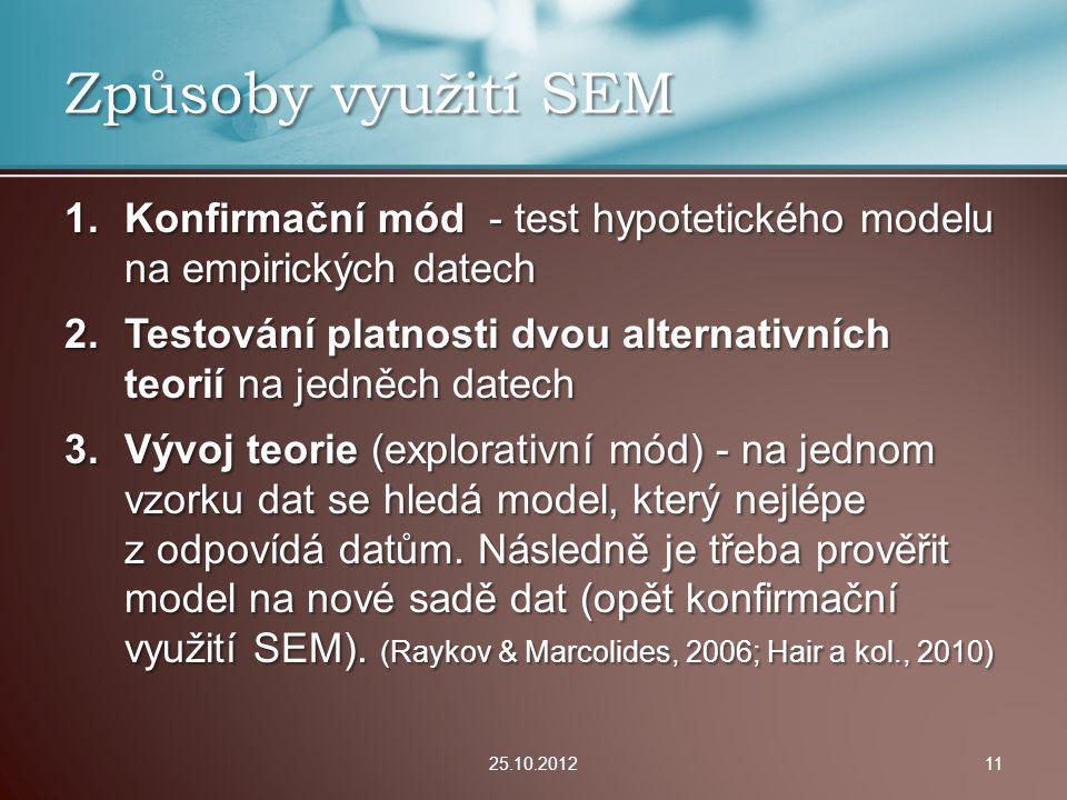 Způsoby využití SEM Konfirmační mód - test hypotetického modelu na empirických datech.