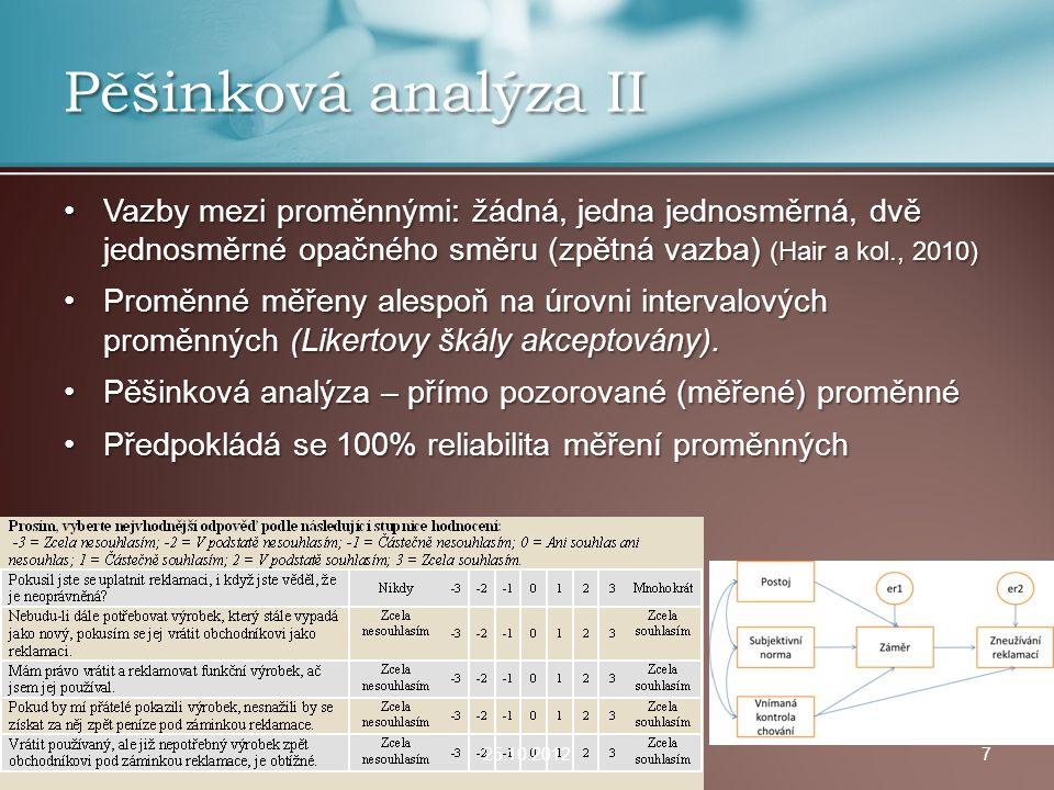 Pěšinková analýza II Vazby mezi proměnnými: žádná, jedna jednosměrná, dvě jednosměrné opačného směru (zpětná vazba) (Hair a kol., 2010)