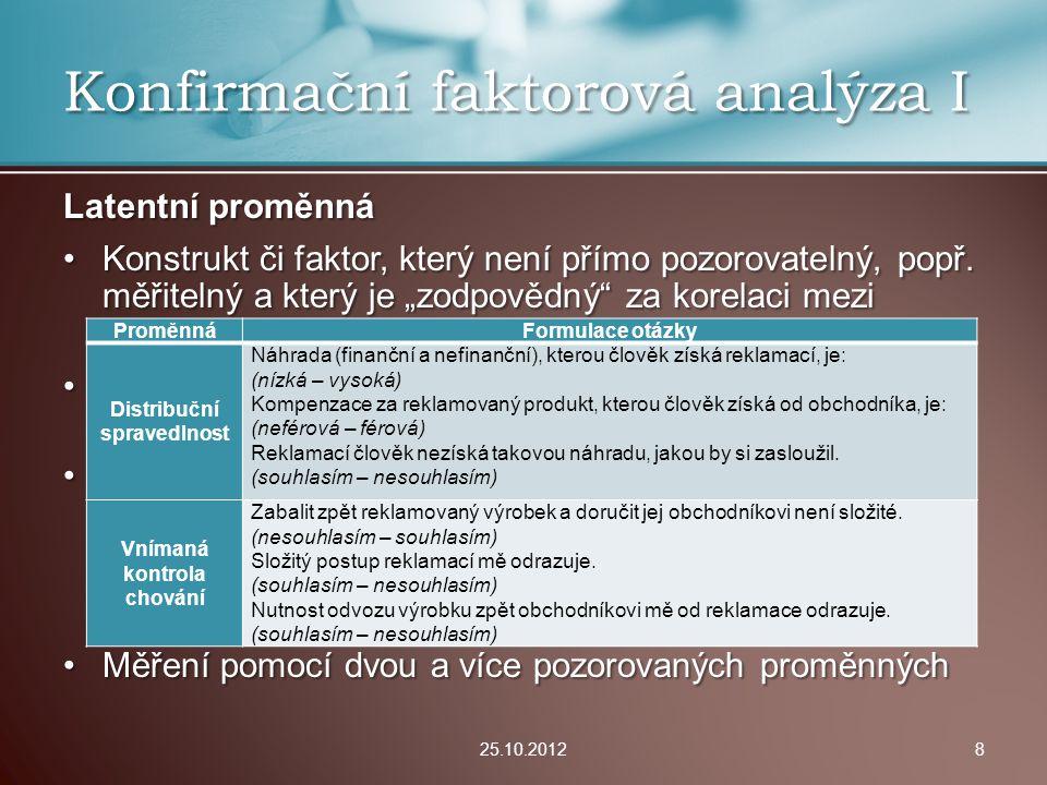 Konfirmační faktorová analýza I