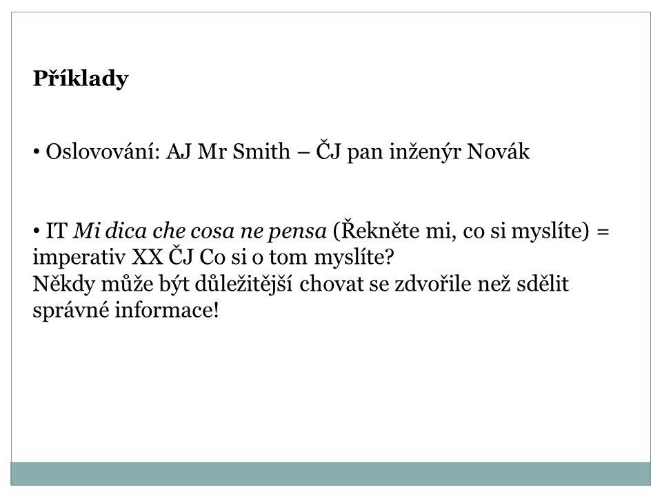 Příklady Oslovování: AJ Mr Smith – ČJ pan inženýr Novák.