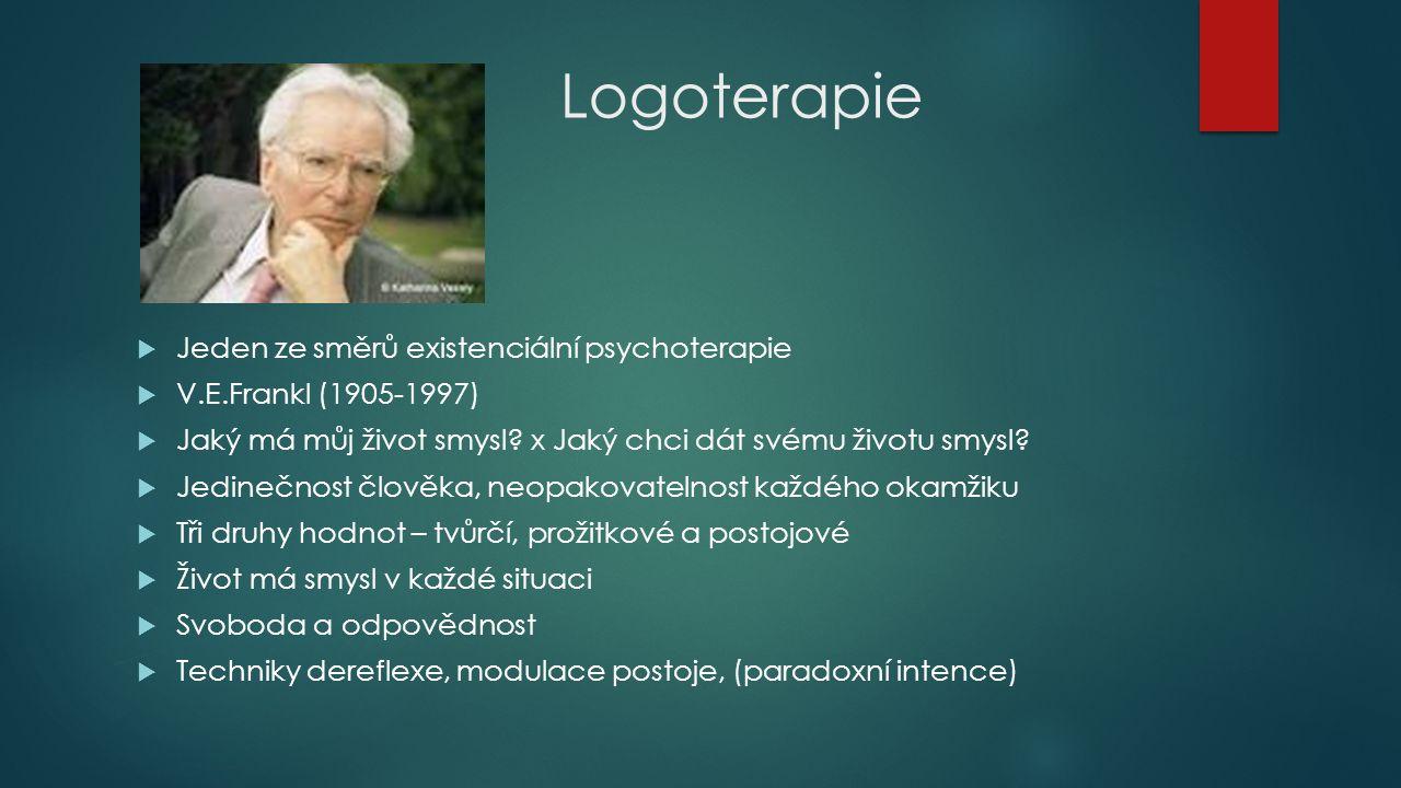 Logoterapie Jeden ze směrů existenciální psychoterapie