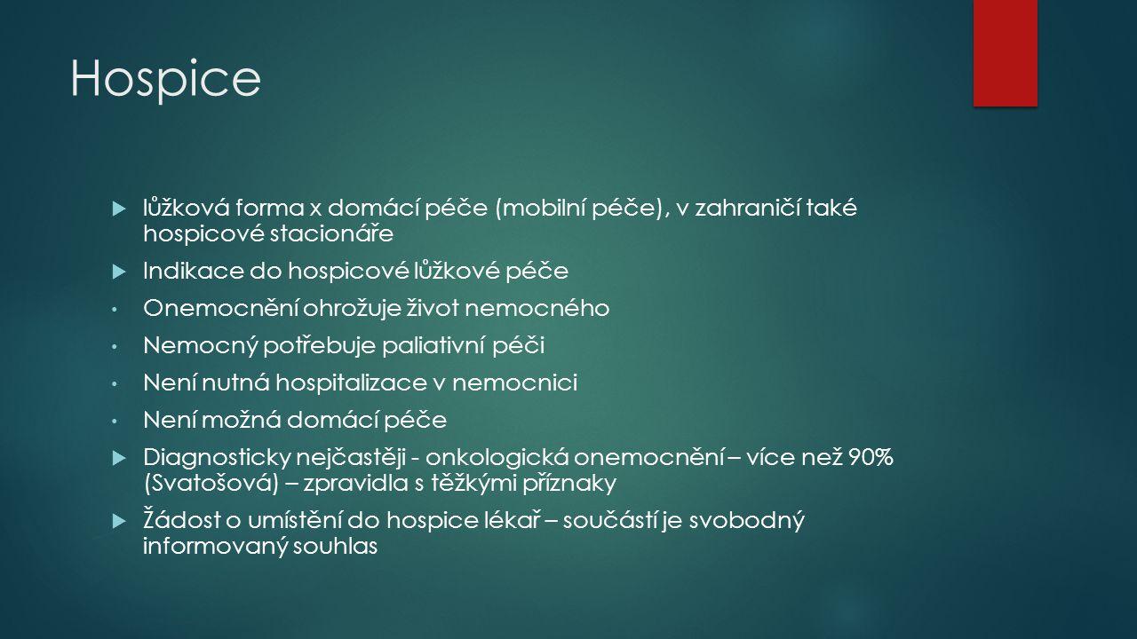 Hospice lůžková forma x domácí péče (mobilní péče), v zahraničí také hospicové stacionáře. Indikace do hospicové lůžkové péče.