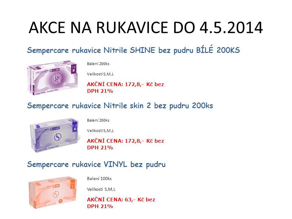AKCE NA RUKAVICE DO 4.5.2014 Sempercare rukavice Nitrile SHINE bez pudru BÍLÉ 200KS. Balení 200ks.