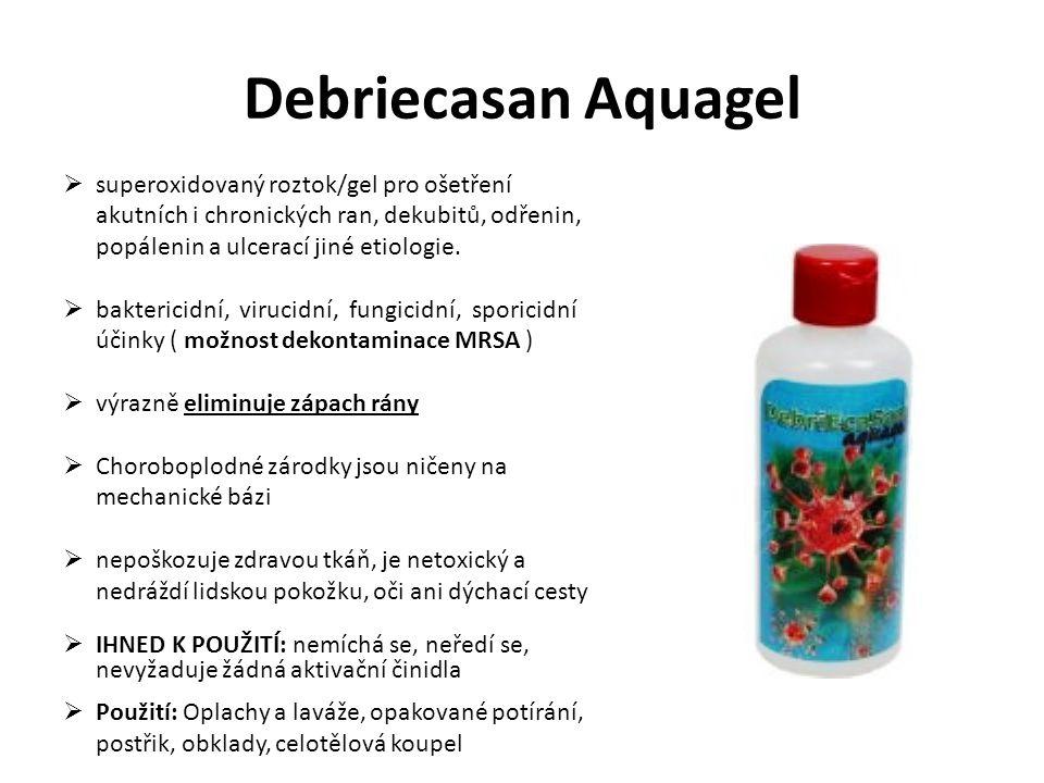 Debriecasan Aquagel superoxidovaný roztok/gel pro ošetření akutních i chronických ran, dekubitů, odřenin, popálenin a ulcerací jiné etiologie.
