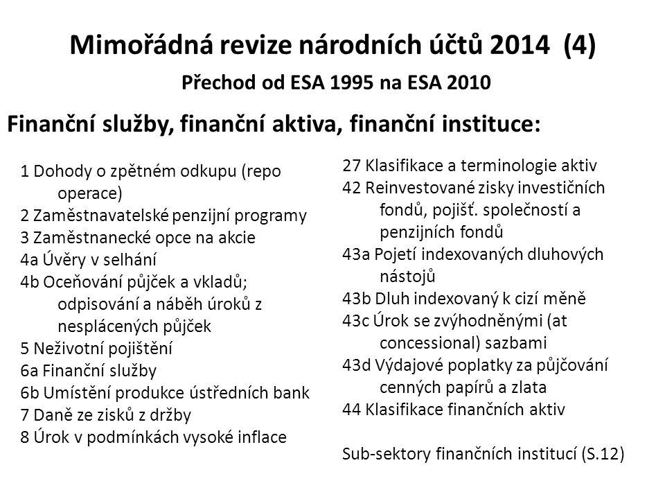 Mimořádná revize národních účtů 2014 (4) Přechod od ESA 1995 na ESA 2010
