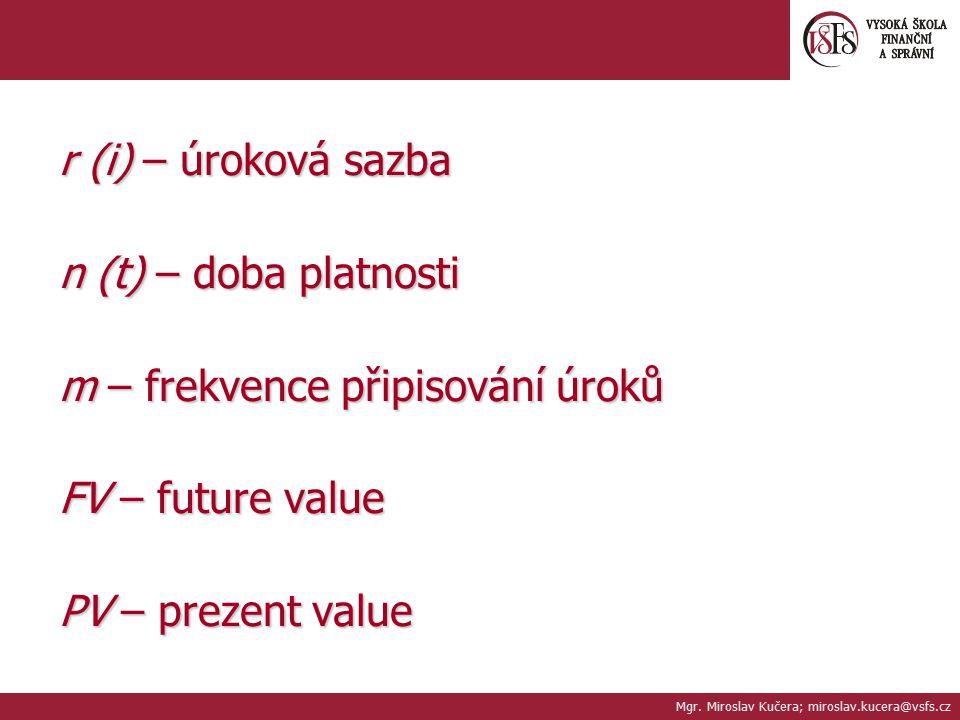 m – frekvence připisování úroků FV – future value PV – prezent value