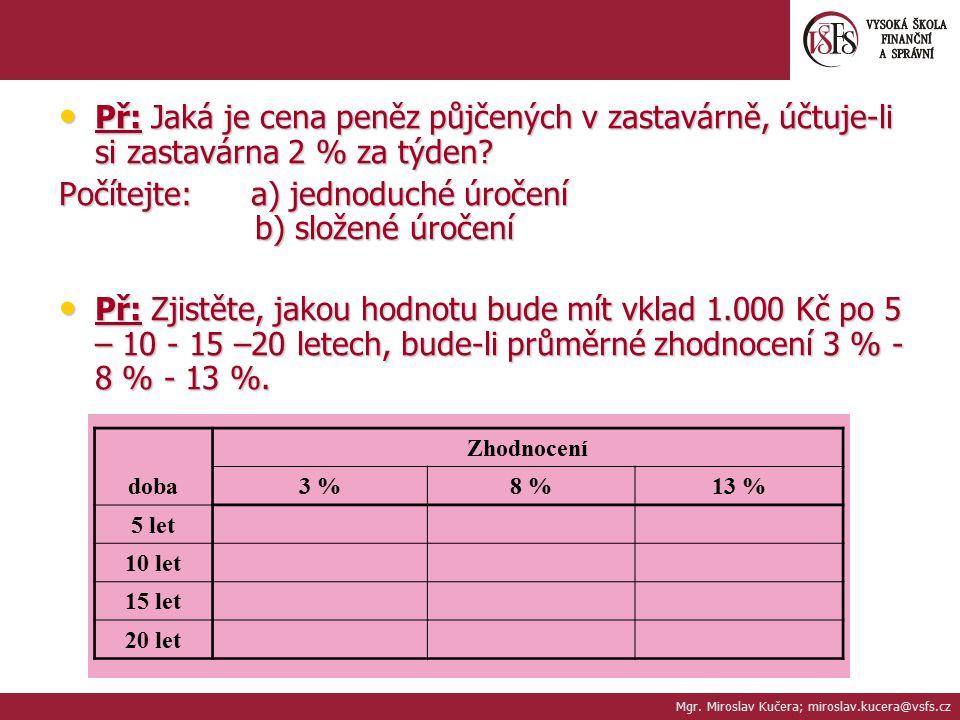 Počítejte: a) jednoduché úročení b) složené úročení