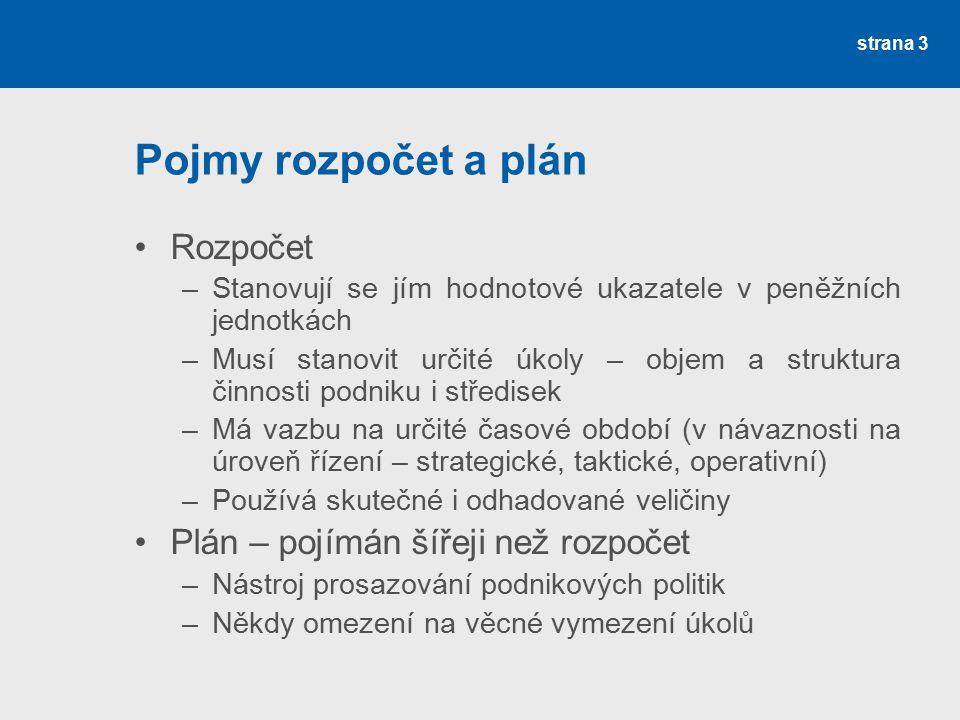Pojmy rozpočet a plán Rozpočet Plán – pojímán šířeji než rozpočet
