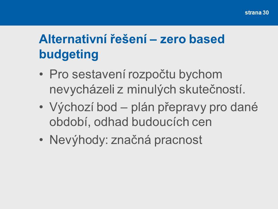 Alternativní řešení – zero based budgeting