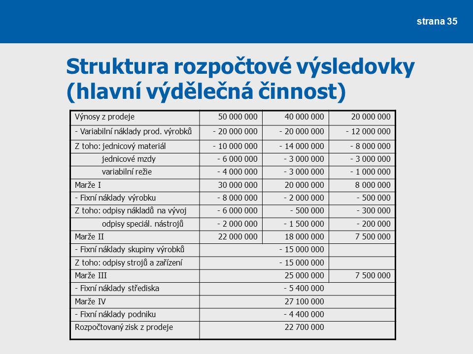Struktura rozpočtové výsledovky (hlavní výdělečná činnost)
