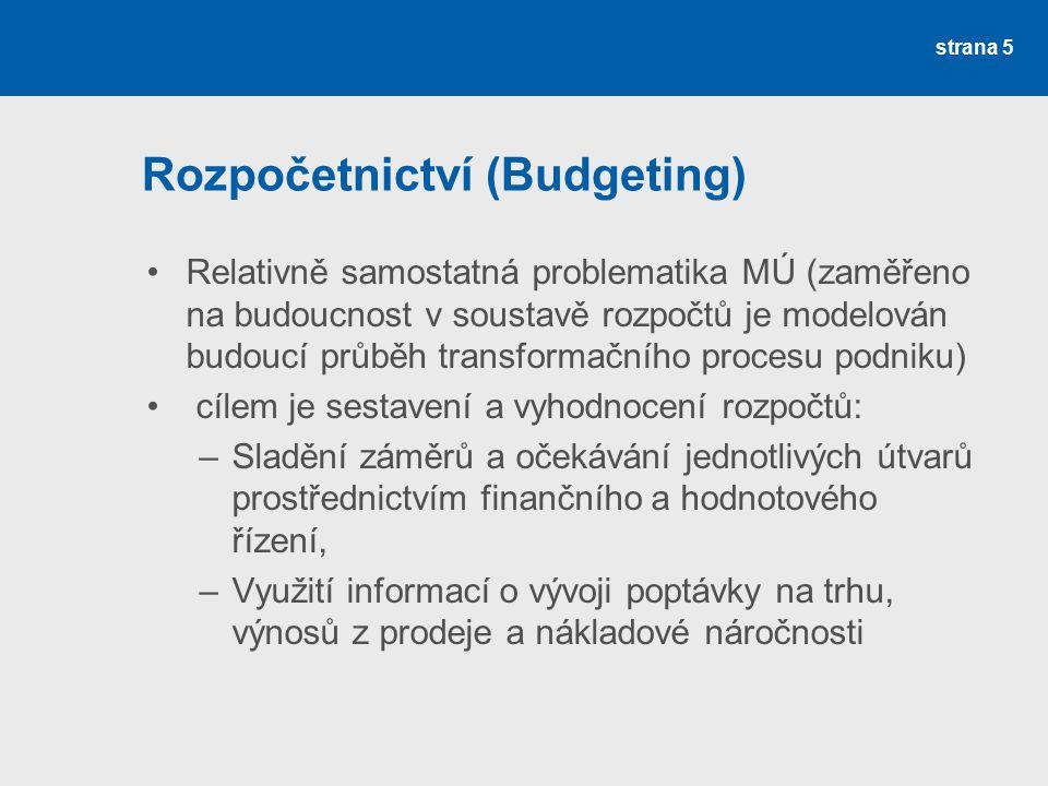 Rozpočetnictví (Budgeting)