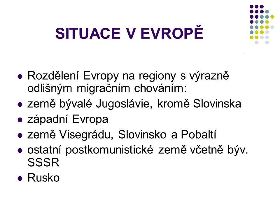 SITUACE V EVROPĚ Rozdělení Evropy na regiony s výrazně odlišným migračním chováním: země bývalé Jugoslávie, kromě Slovinska.