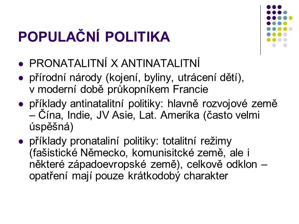 POPULAČNÍ POLITIKA PRONATALITNÍ X ANTINATALITNÍ