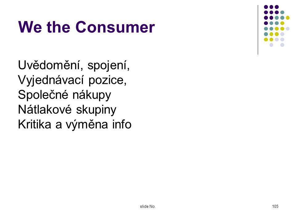 We the Consumer Uvědomění, spojení, Vyjednávací pozice,