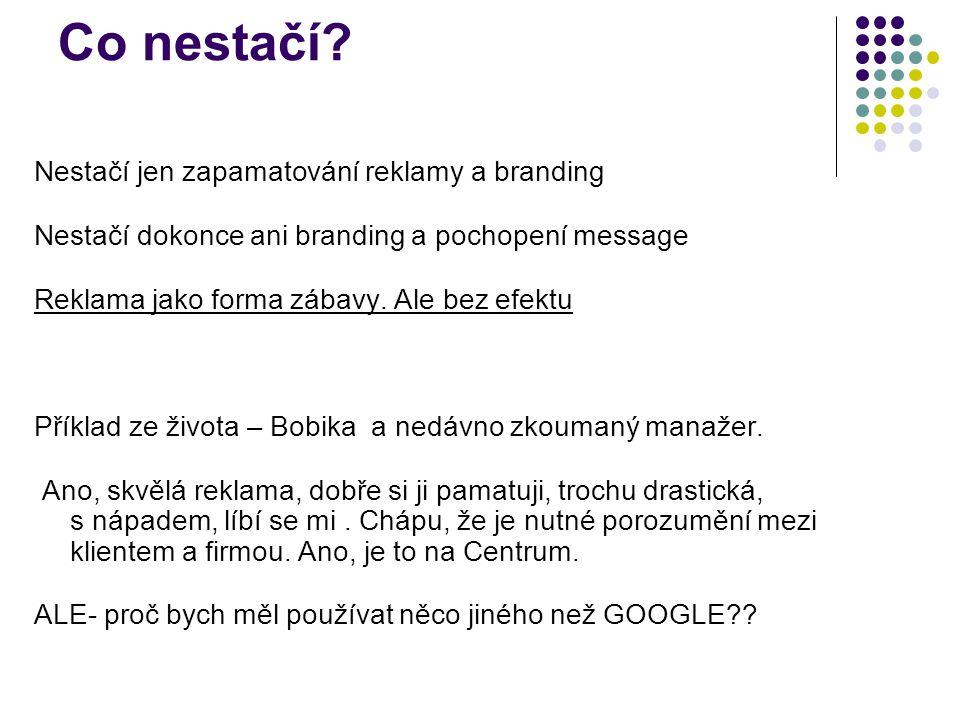 Co nestačí Nestačí jen zapamatování reklamy a branding