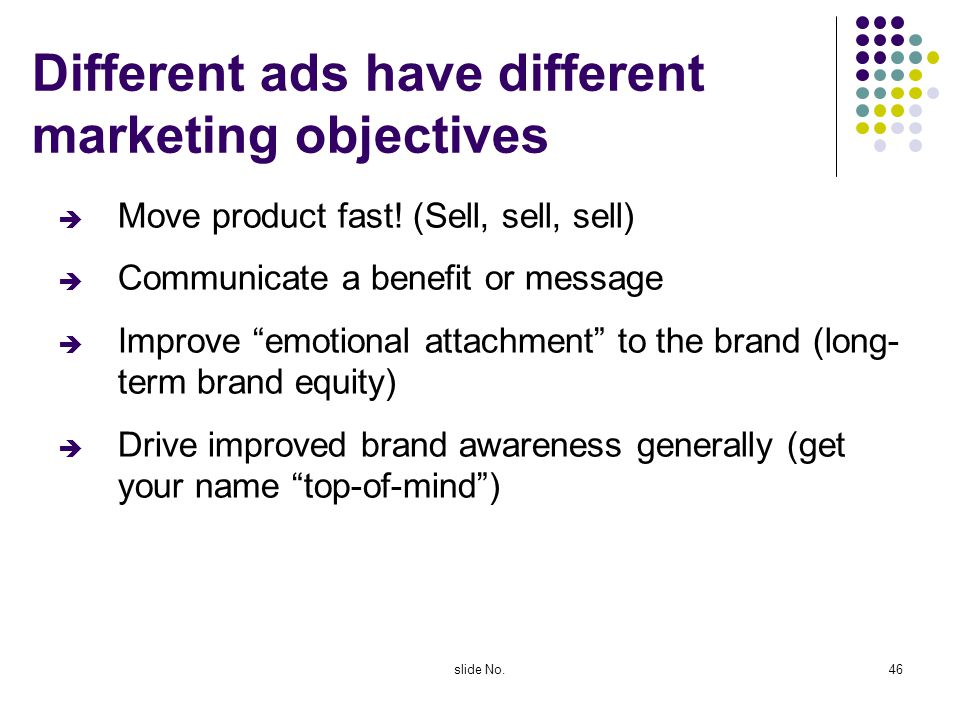 Different ads have different marketing objectives