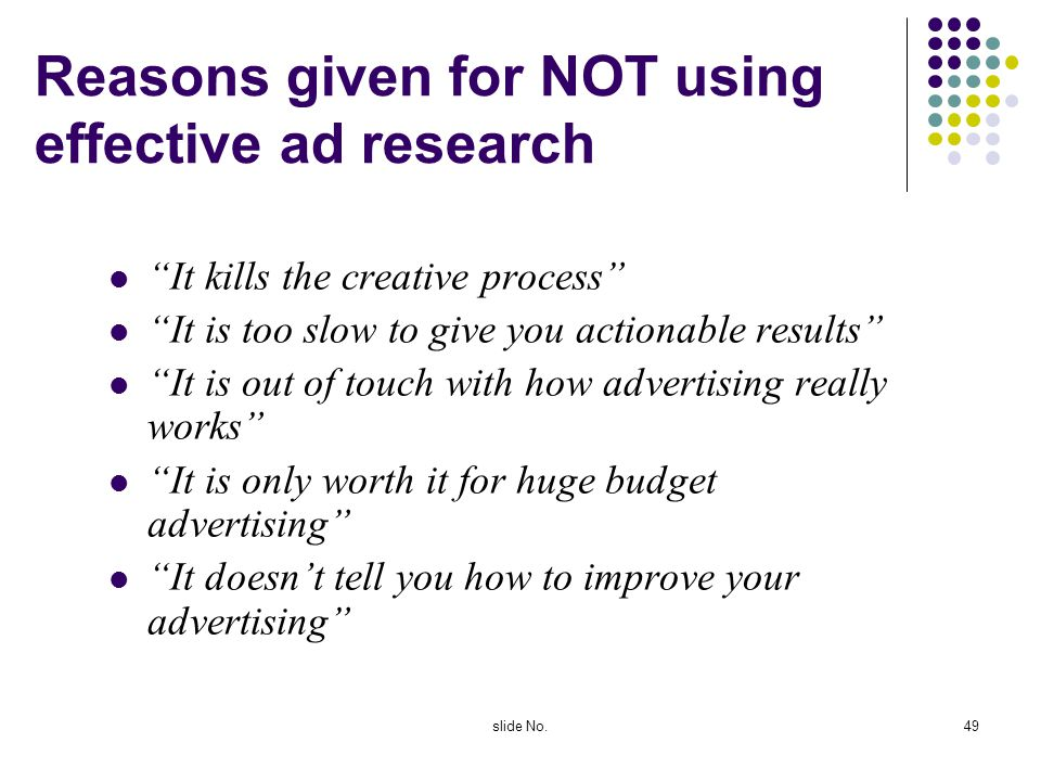 Reasons given for NOT using effective ad research