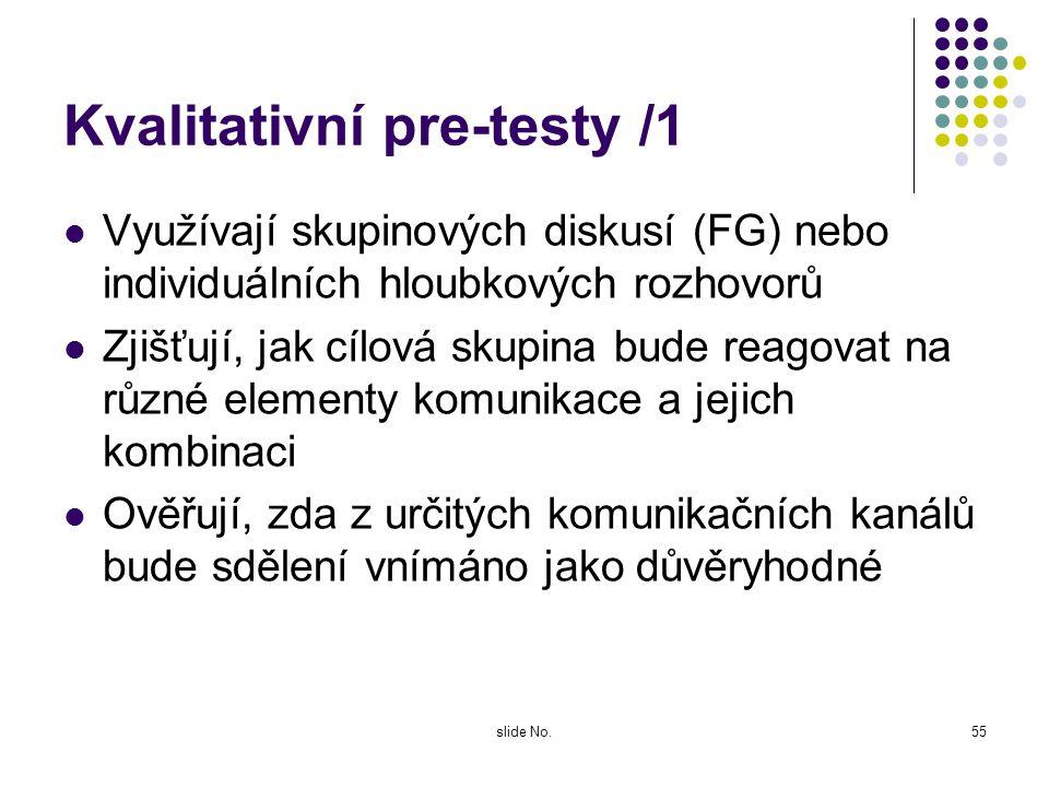 Kvalitativní pre-testy /1
