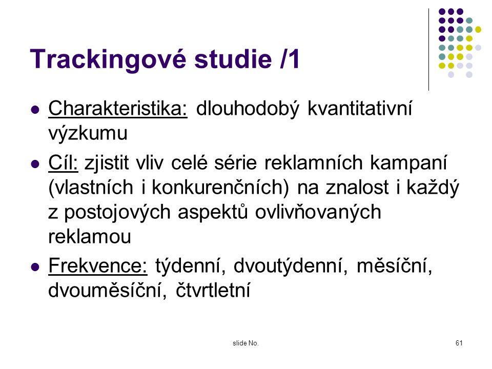 Trackingové studie /1 Charakteristika: dlouhodobý kvantitativní výzkumu.