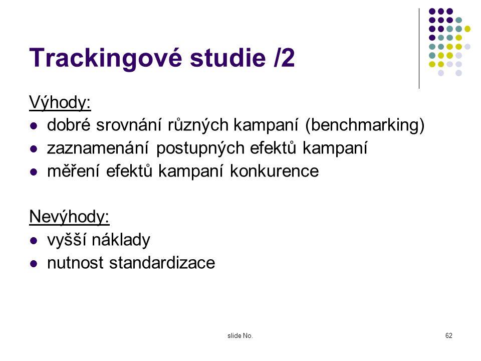 Trackingové studie /2 Výhody: