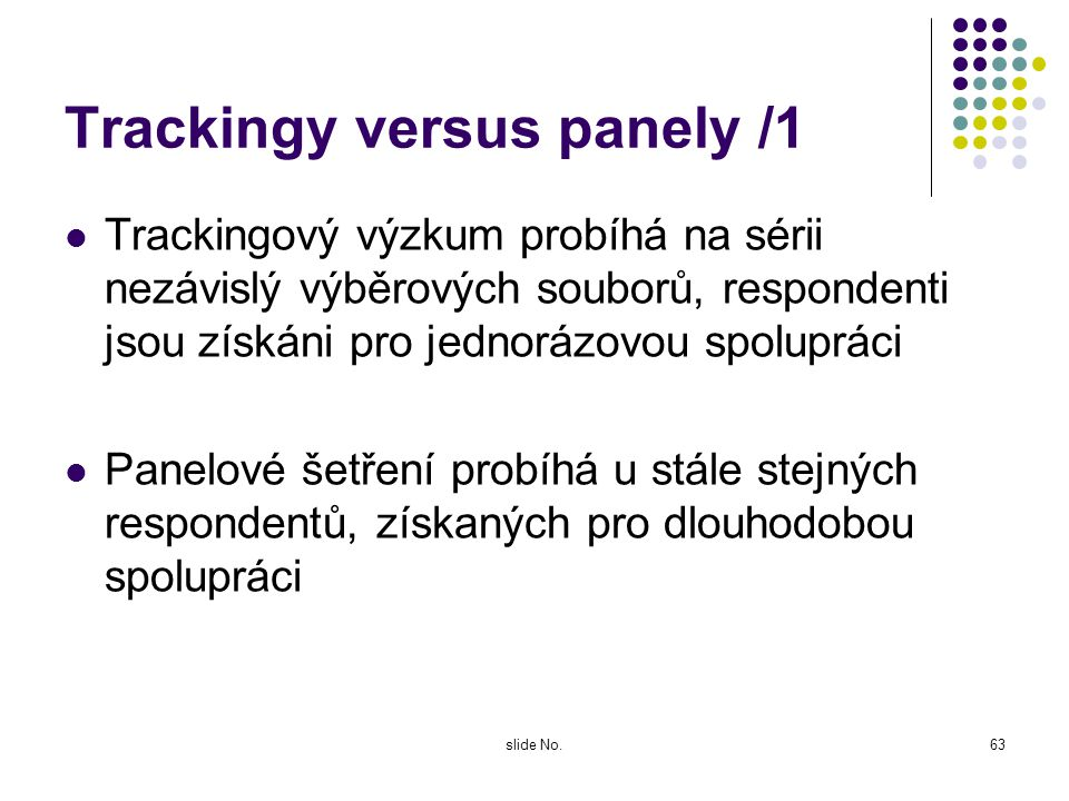 Trackingy versus panely /1