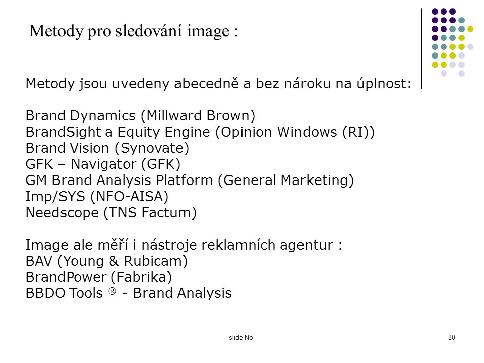 Metody pro sledování image :