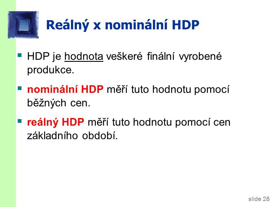 Příklad Vypočítejte nominální HDP v každém roce.