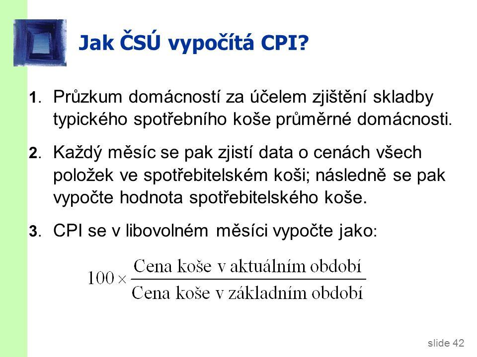 Příklad: výpočet CPI Koš obsahuje 20 pizz a 10 cedéček ceny:
