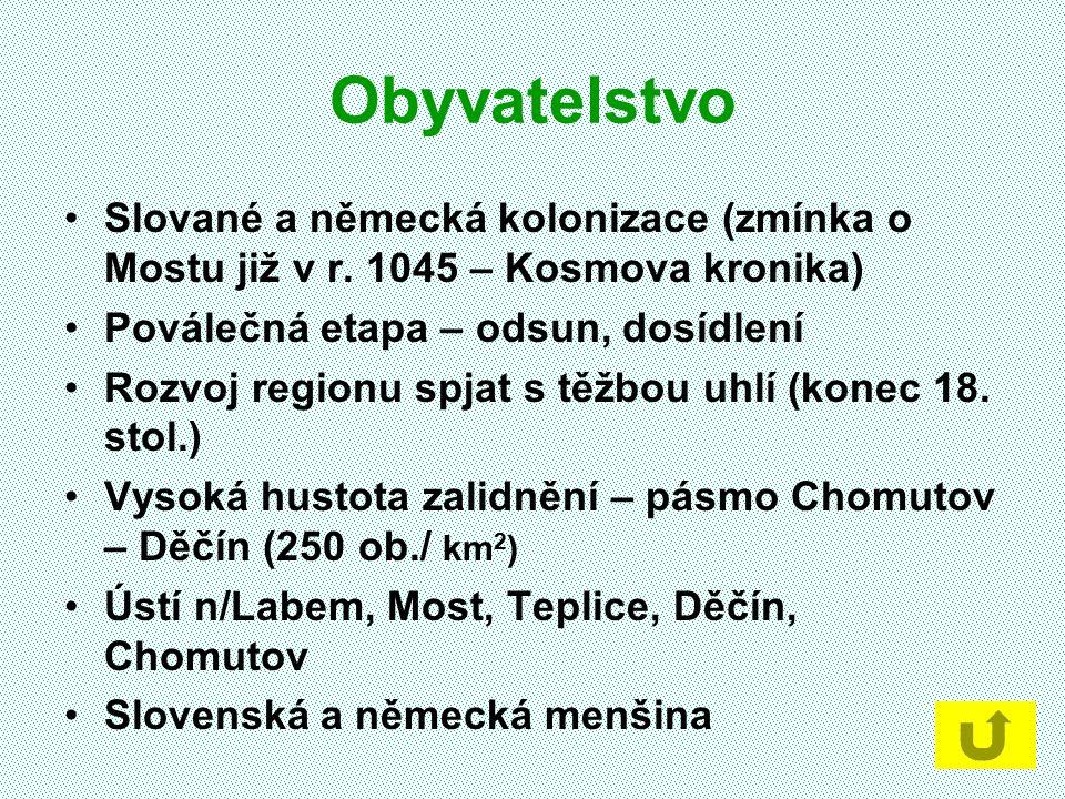 Obyvatelstvo Slované a německá kolonizace (zmínka o Mostu již v r. 1045 – Kosmova kronika) Poválečná etapa – odsun, dosídlení.