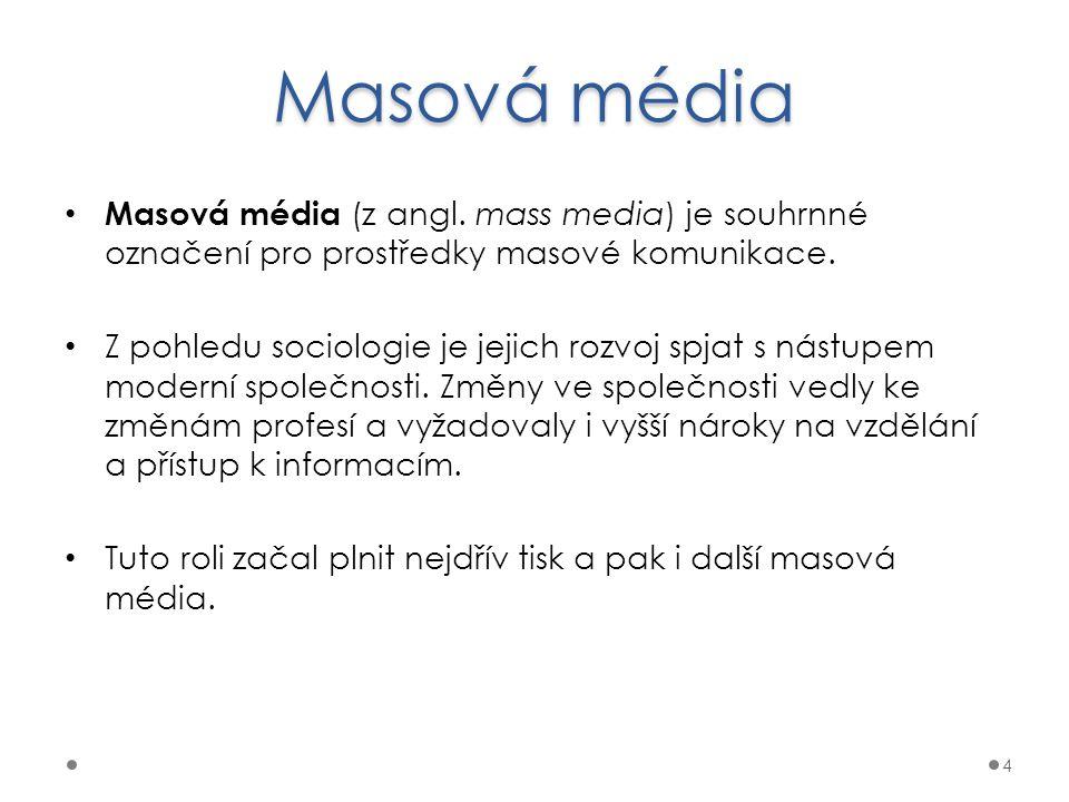 Masová média Masová média (z angl. mass media) je souhrnné označení pro prostředky masové komunikace.