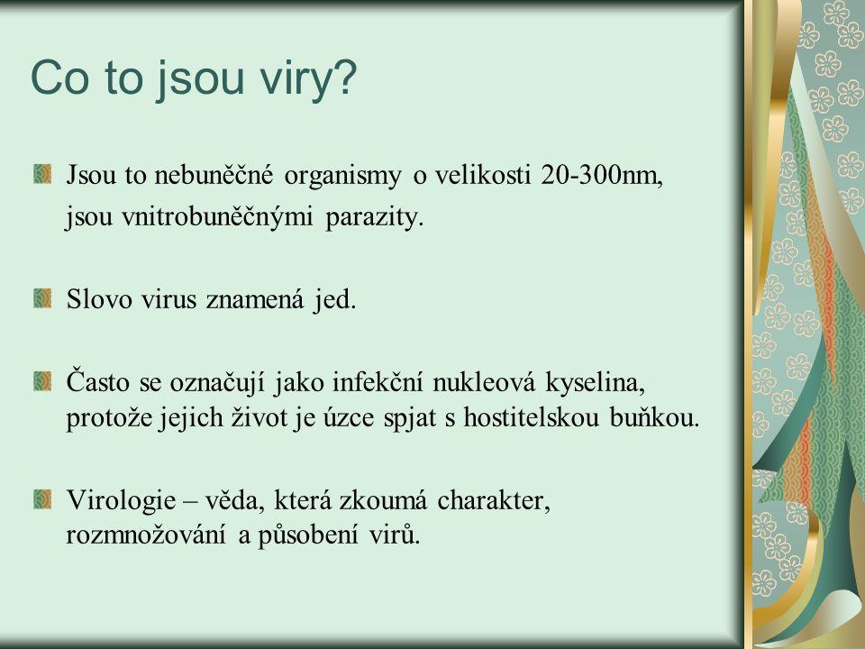 Co to jsou viry Jsou to nebuněčné organismy o velikosti 20-300nm,