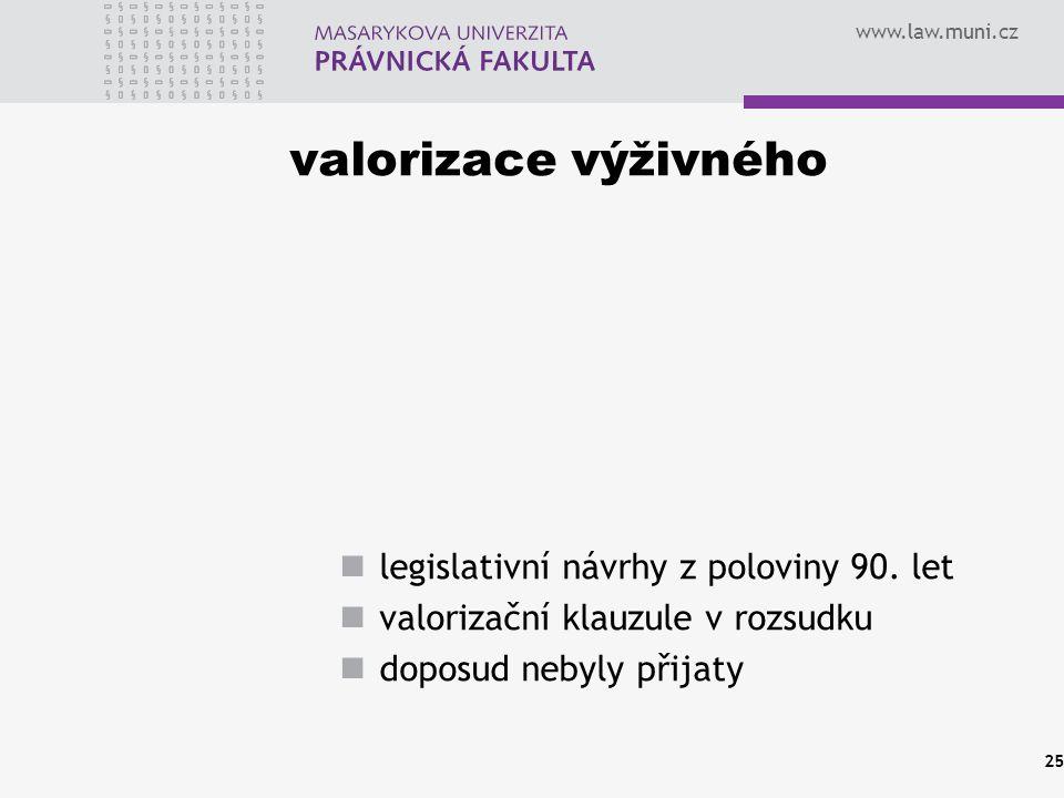 valorizace výživného legislativní návrhy z poloviny 90. let