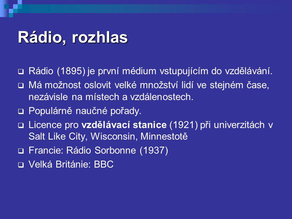 Rádio, rozhlas Rádio (1895) je první médium vstupujícím do vzdělávání.