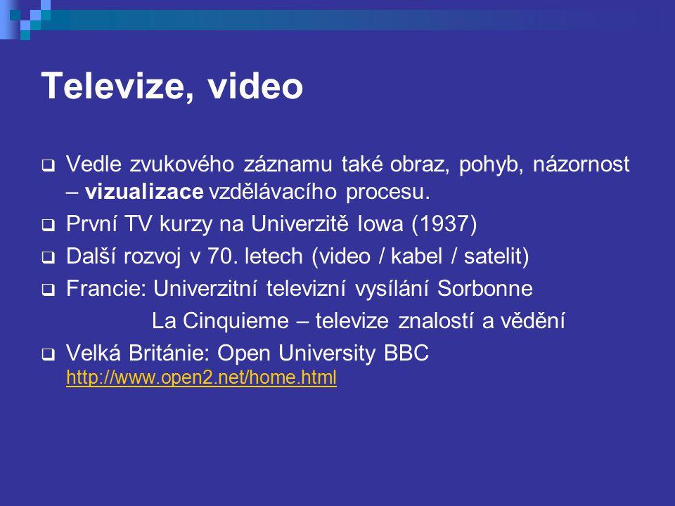 Televize, video Vedle zvukového záznamu také obraz, pohyb, názornost – vizualizace vzdělávacího procesu.