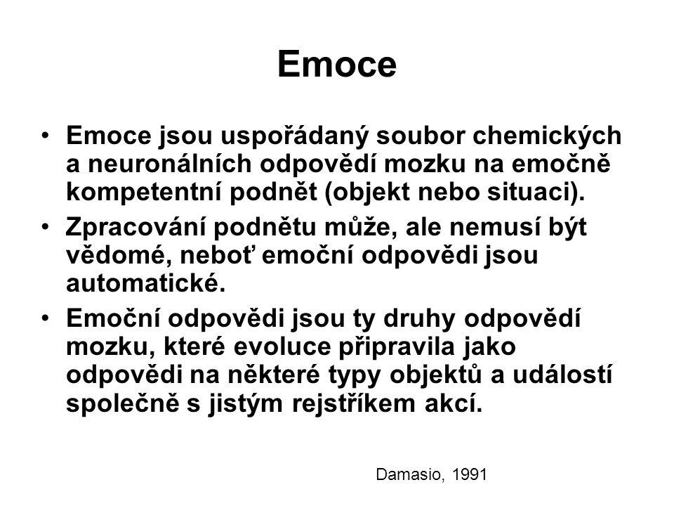 Emoce Emoce jsou uspořádaný soubor chemických a neuronálních odpovědí mozku na emočně kompetentní podnět (objekt nebo situaci).