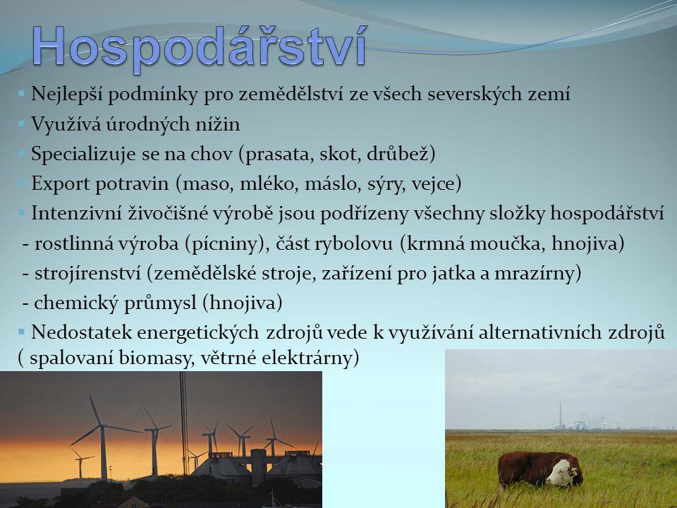 Hospodářství Nejlepší podmínky pro zemědělství ze všech severských zemí. Využívá úrodných nížin. Specializuje se na chov (prasata, skot, drůbež)